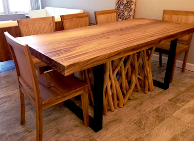 Live Edge Suar Wood Dining Room Table with Coconut Teak Back Chairs