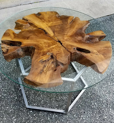 Live Edge Mahogany End Table
