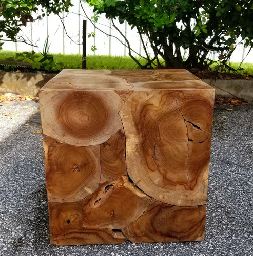 Sectioned Teak Square Stool