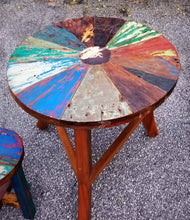 Reclaimed Boat Wood Table with Stool