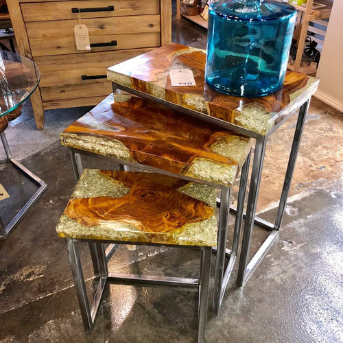 Resin Infused Teak Nesting Tables