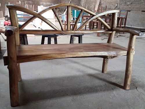 Rustic Raw Teak Bench