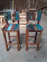 Reclaimed Boat Wood High Top Table and Stools