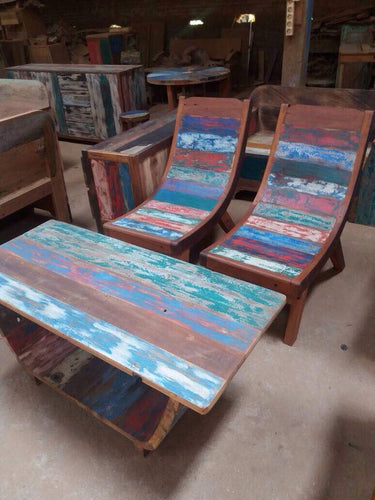 Reclaimed Boat Wood Curved Chair