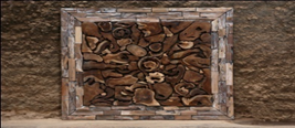 Teak Section Wall Art Square