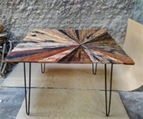 Reclaimed Boat Wood Sunburst Dining Table