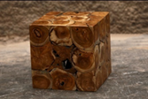 Natural Sectioned Teak Stool