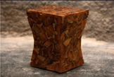Hourglass Shaped Natural Sectioned Teak Stool