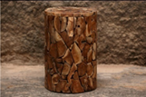 Circular Shaped Natural Sectioned Teak Stool