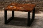 Teak and Resin Square End Table