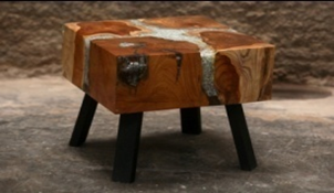Resin Infused Teak Coffee Table