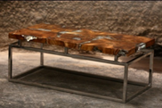 Marbled Resin Teak Coffee Table