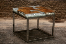 Marbled Resin Teak End Table