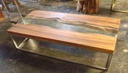 Teak Section Glass Inlay Coffee Table
