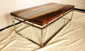 Suar Wood Section Resin Inlay Coffee Table