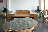 Teak Root Center Cut Coffee Table with Glass Top