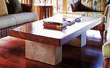 Suar Coffee Table with Limestone Legs