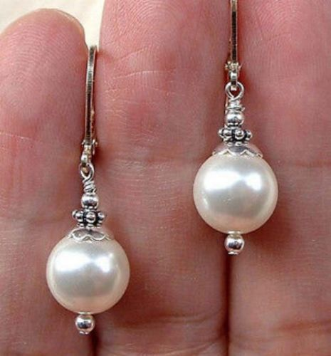 Sterling Silver Bali White South Sea Pearl Earrings