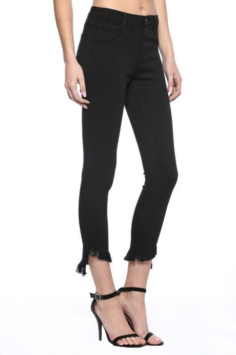 Black Frayed Hem Skinnies, Sizes 1-22
