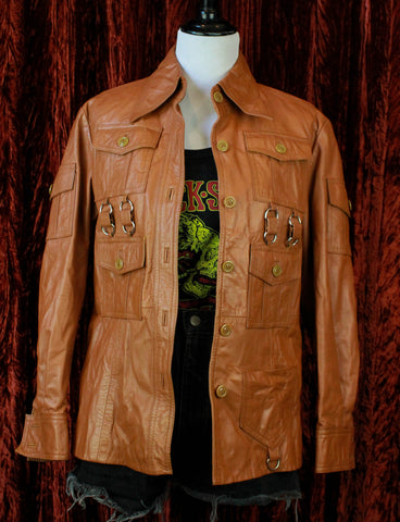 Dead End Career Club Vintage Rock N Roll Animal Cropped Leather Jacket - Medium