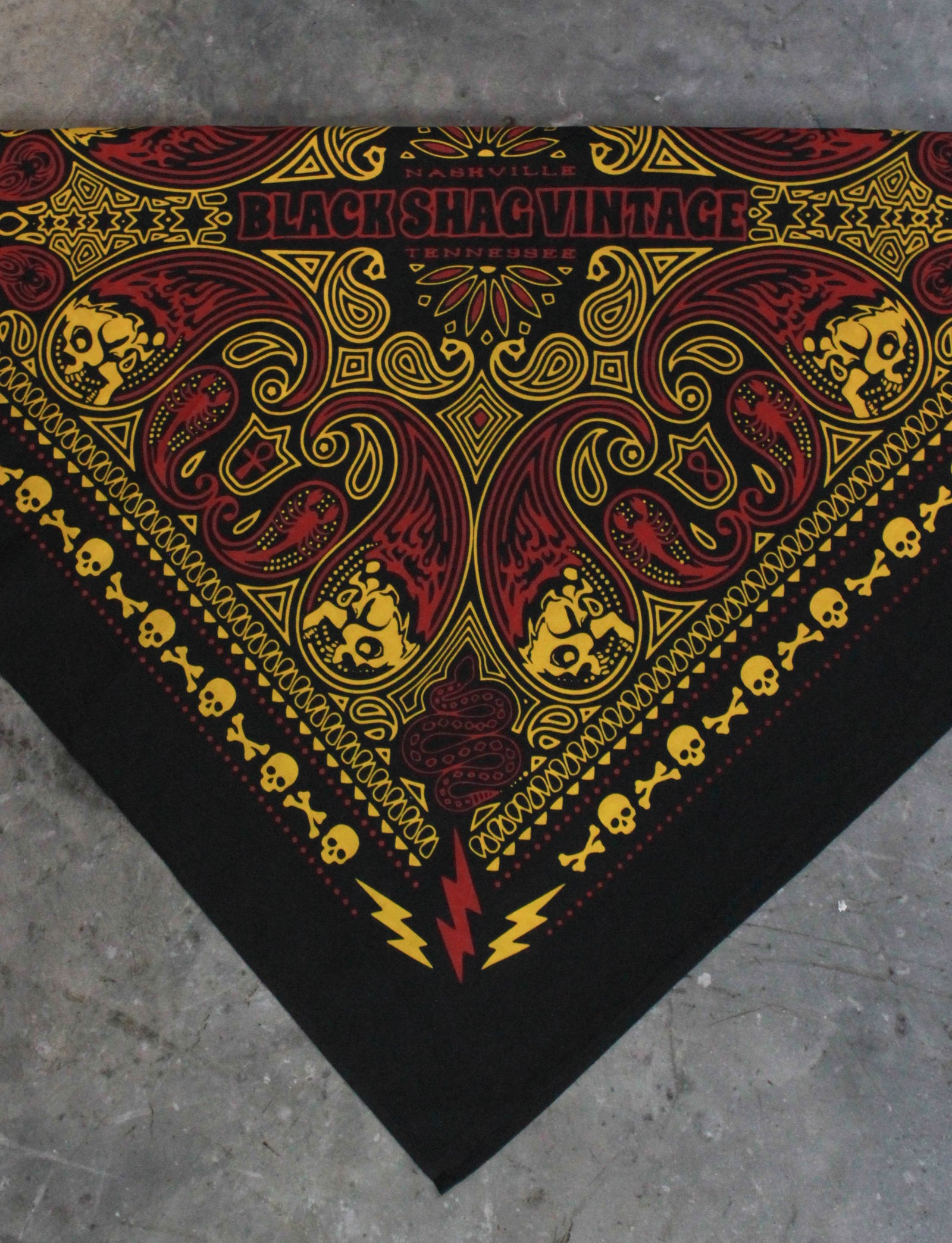 Black Shag Vintage Red And Gold Skull Bandana