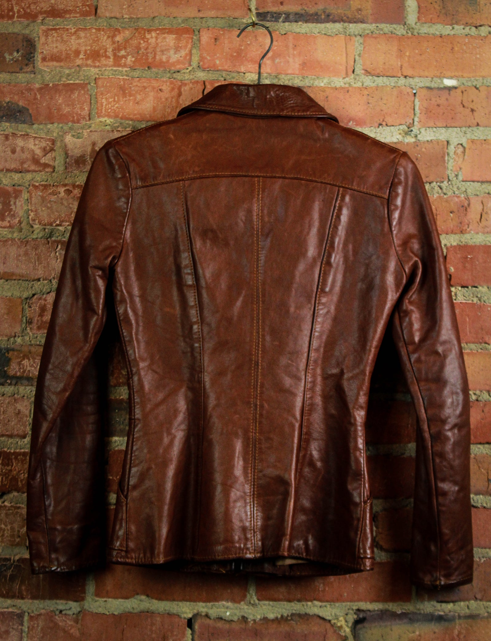 Vintage Natural Comfort Leather Jacket Women's 1970s Small