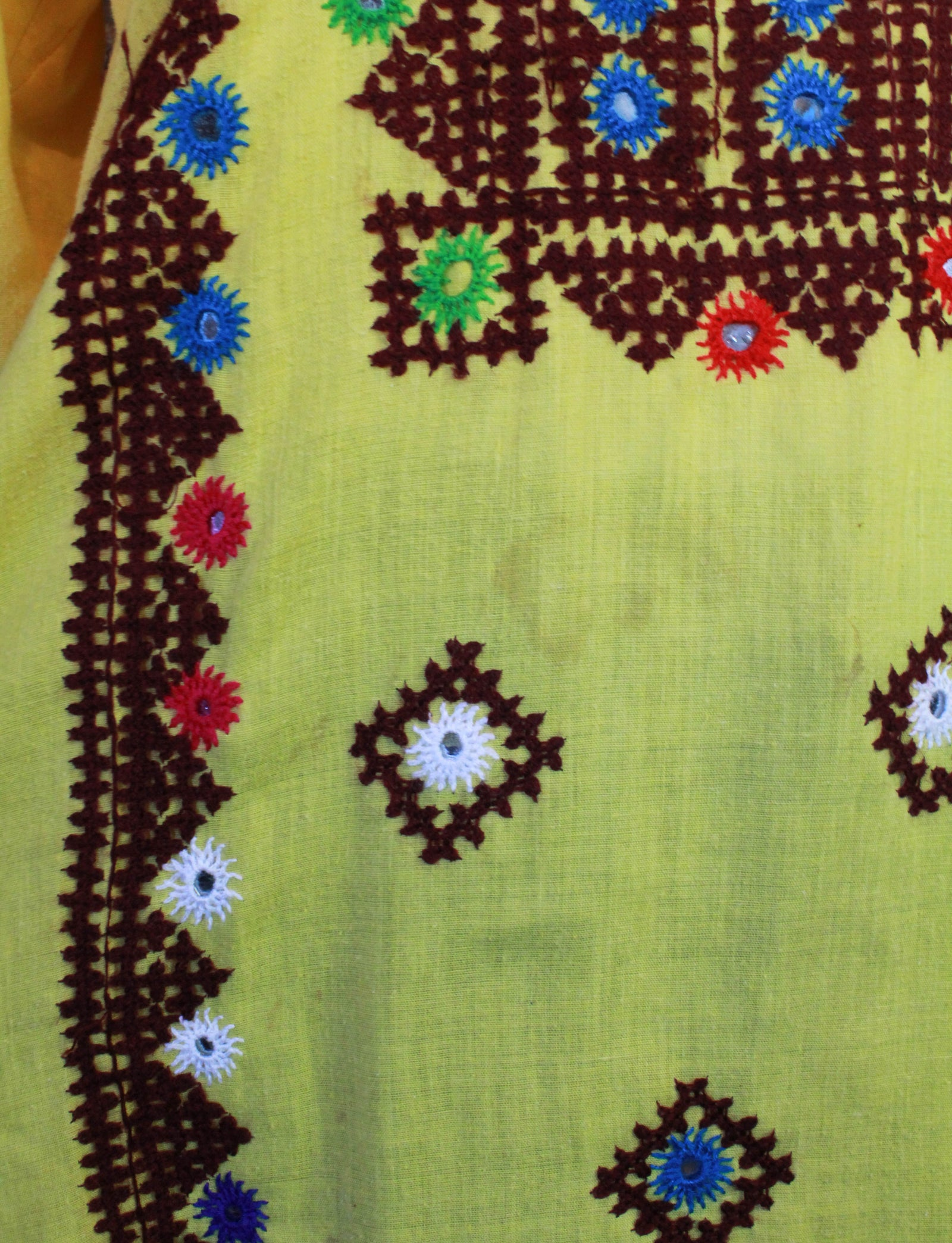 Women's Vintage 70's Indian Embroidered Tunic Dress Size Large