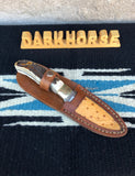 Custom Made Darkhorse Knife With Elk Stag Handle and Ostrich Sheath 3.5