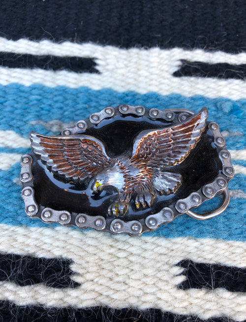 Vintage 1983 Eagle Biker Chain Belt Buckle