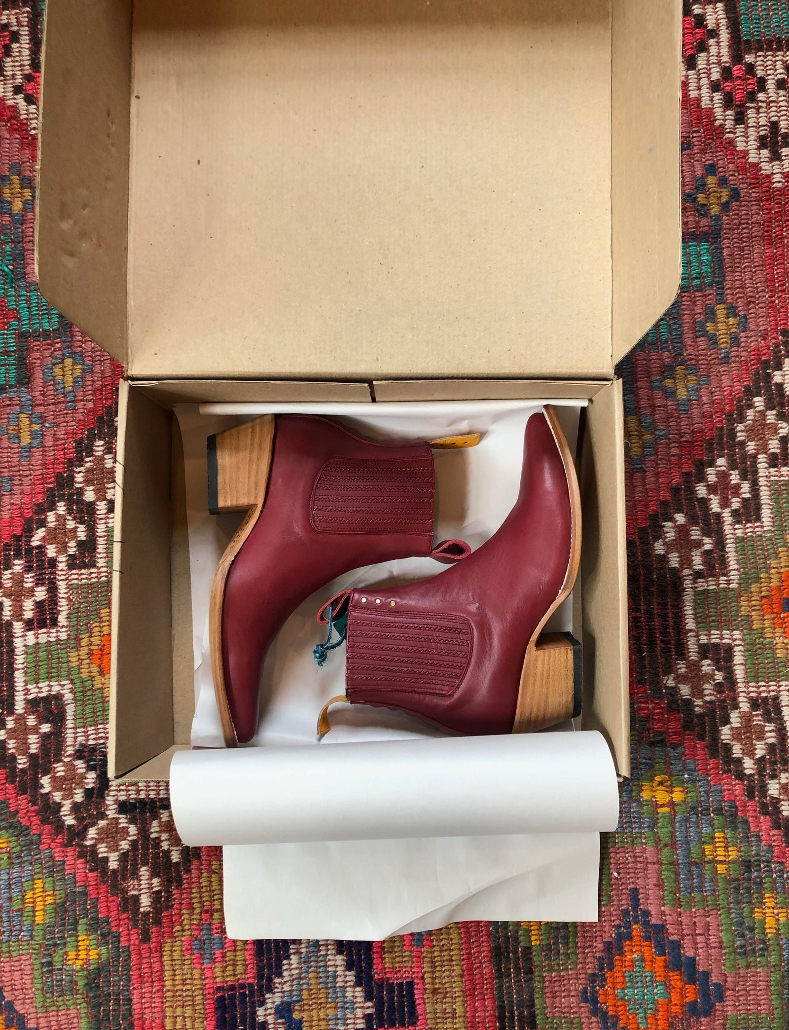 Blood Red Leather PS Kaufman Women's Chelsea Boots No.1001 Freeway