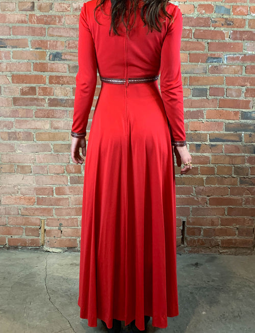 Women's Vintage 50's Floor Length Gown Red Beaded Party Dress Size 6 Small