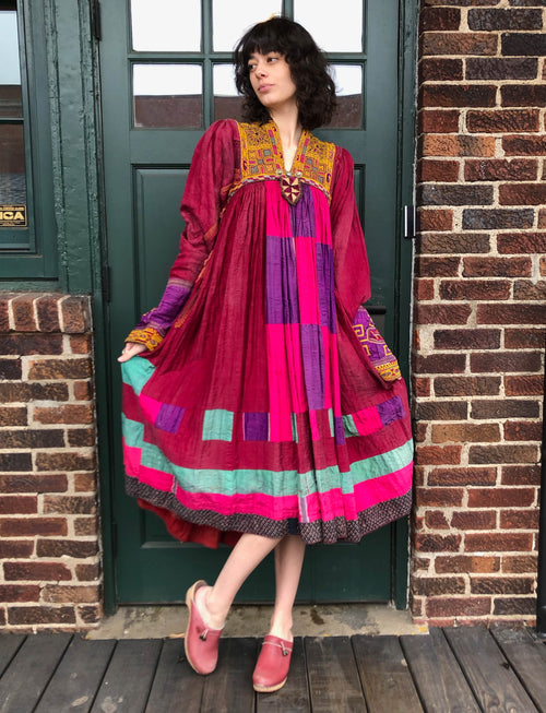 Women's Vintage Ethnic Patchwork Peasant Dress - Small