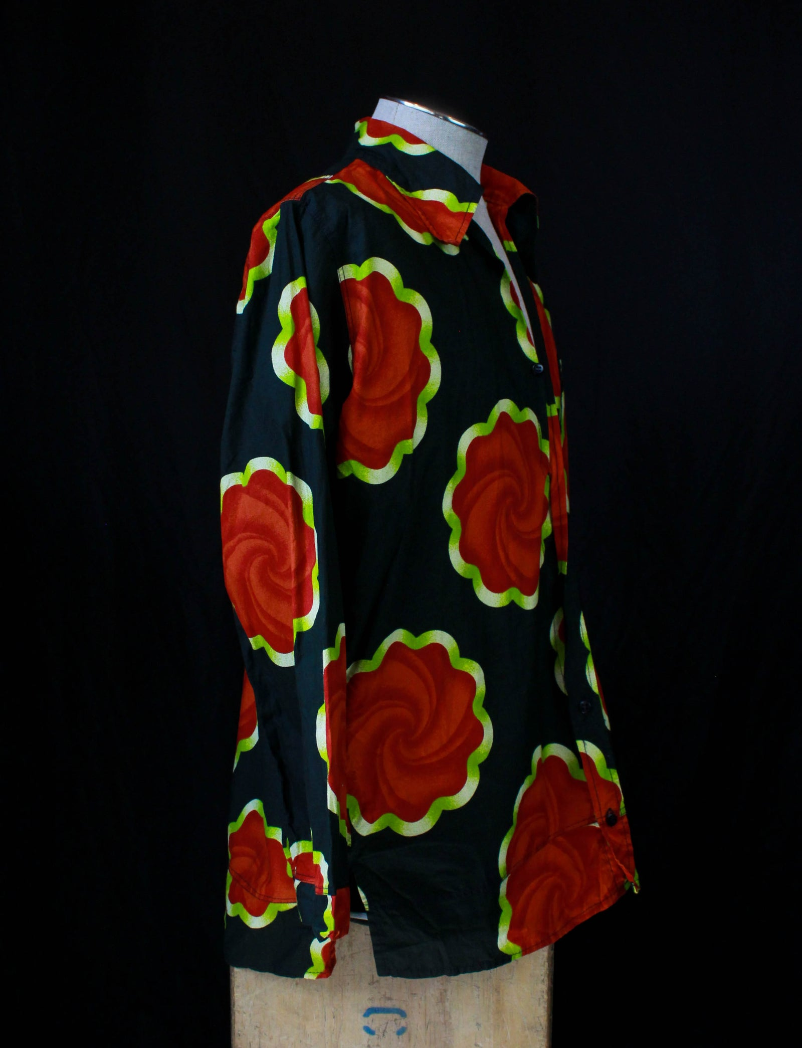 Men's Vintage 70's African Print Long Sleeve Floral Shirt Medium