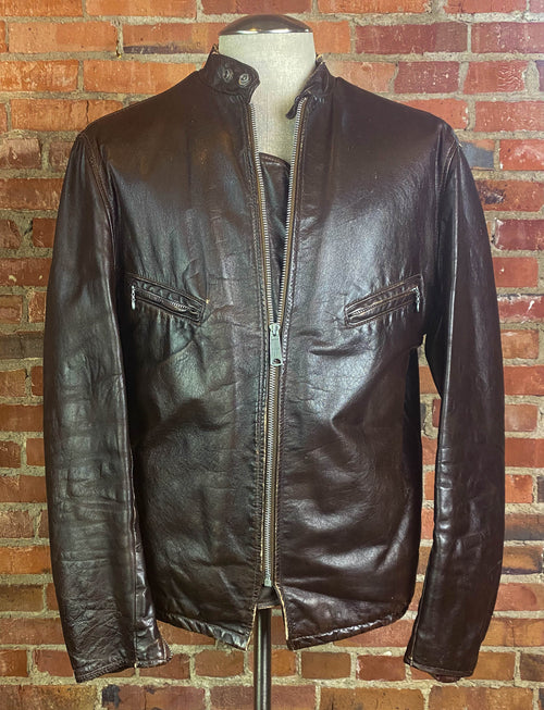 Men's Vintage 70's Perfecto Schott Brothers Leather Jacket Cafe Racer Brown Size 44- Medium/Large