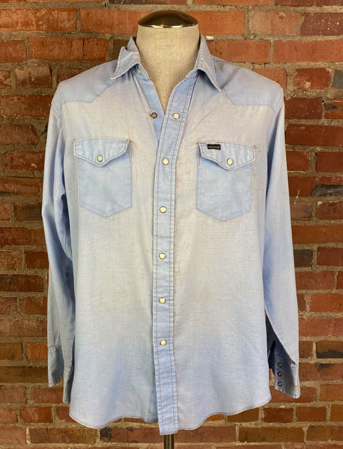 Men's Vintage 70's Roebucks Western Shirt Pearl Snap Chambray XL/XXL