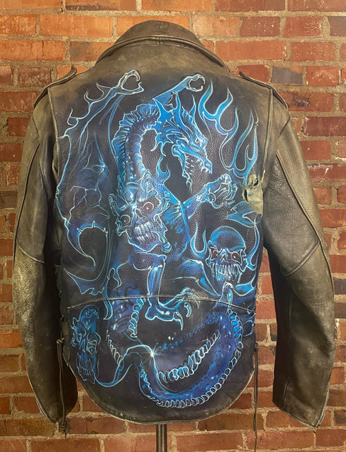 Men's Vintage 80's Blue Dragon Leather Jacket Hand Painted Grey Size 48/XL