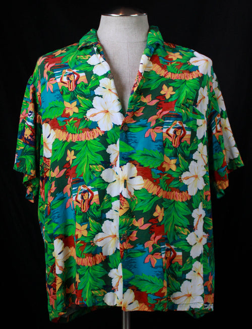 Men's Vintage 80's Paradise Bay Hawaiian Shirt Aloha Green Lua Hula Print Short Sleeve XL