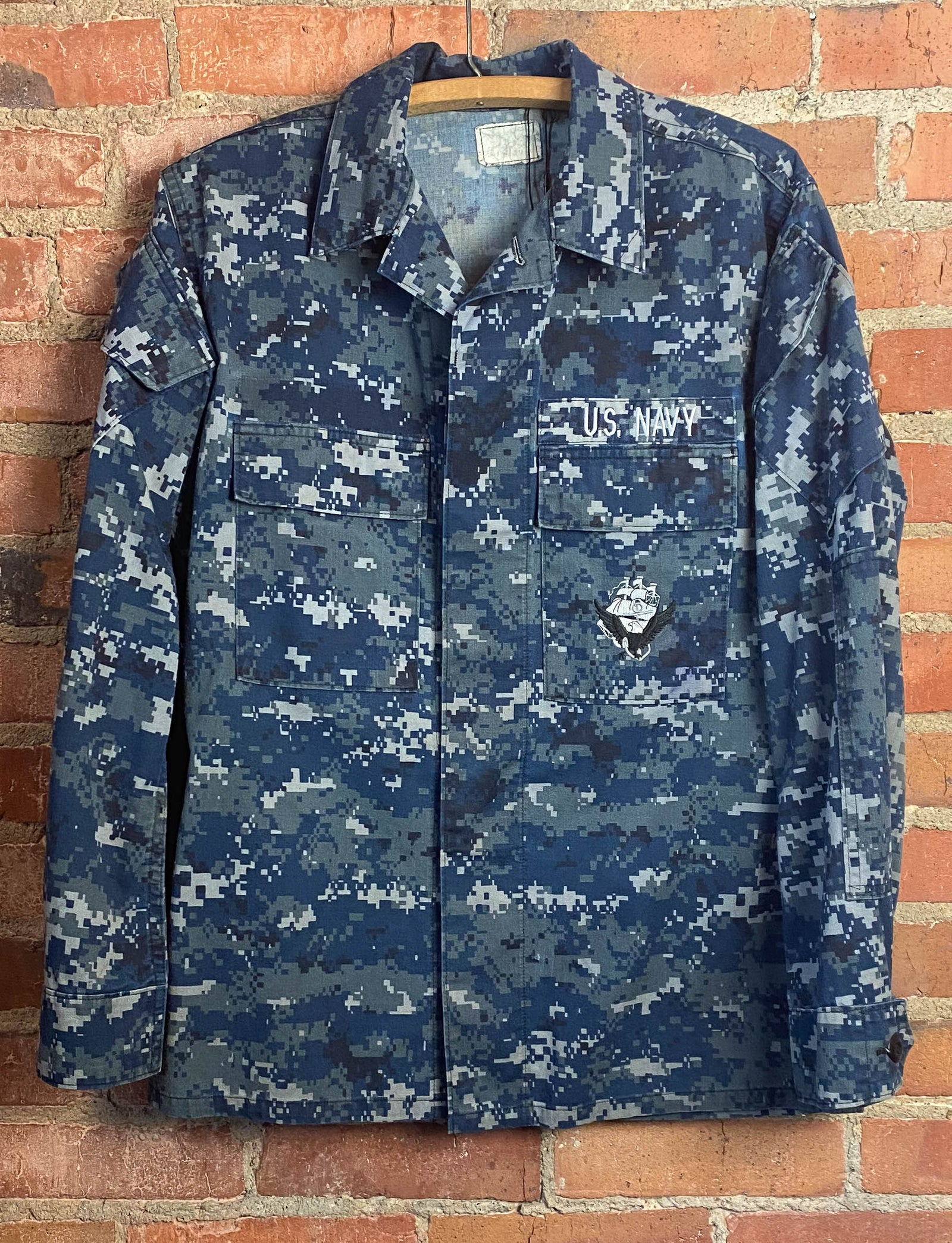 Men's Vintage 90's U.S. Navy Camouflage Military Jacket Blue Large