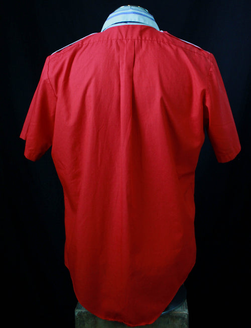 Men's Vintage 70's Marlboro Shirt Button Down Short Sleeve Red Large