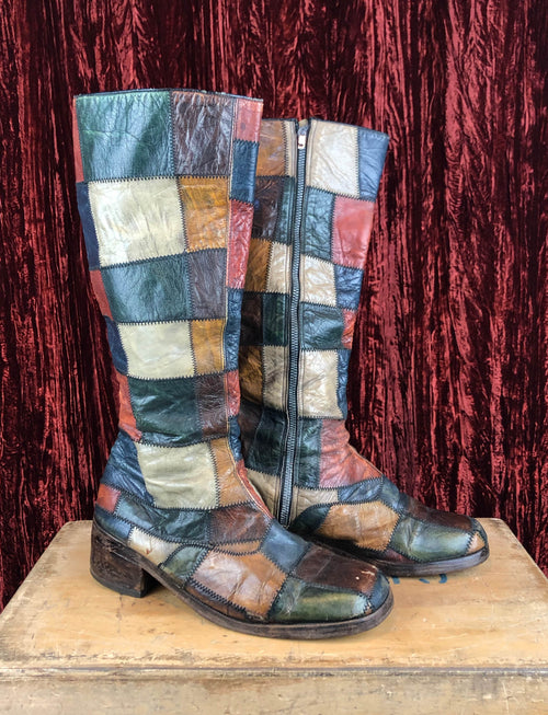 Men's Vintage 70's Patchwork Leather Boots - 10.5