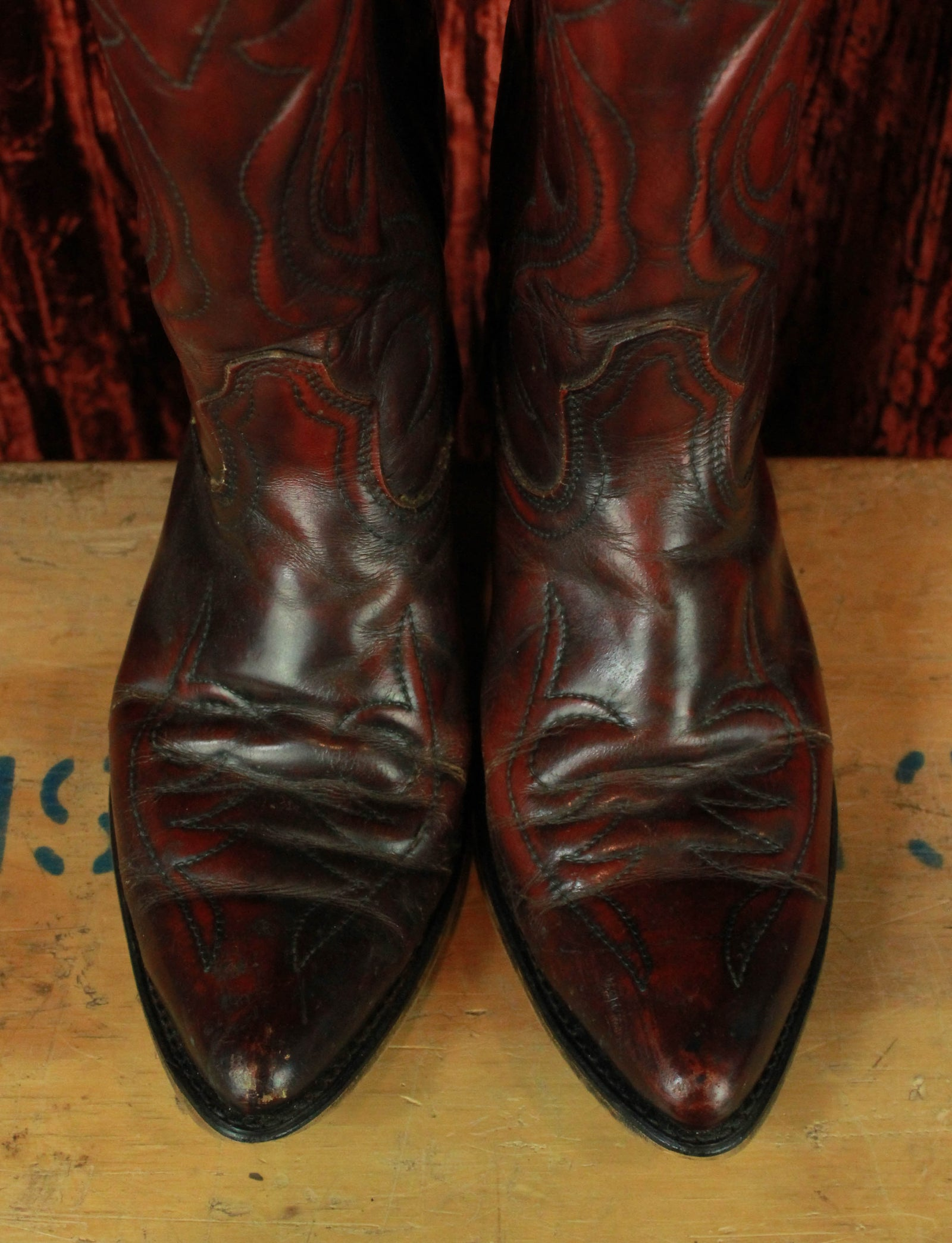 Men's Vintage Acme Burgundy Leather Cowboy Boots - 9