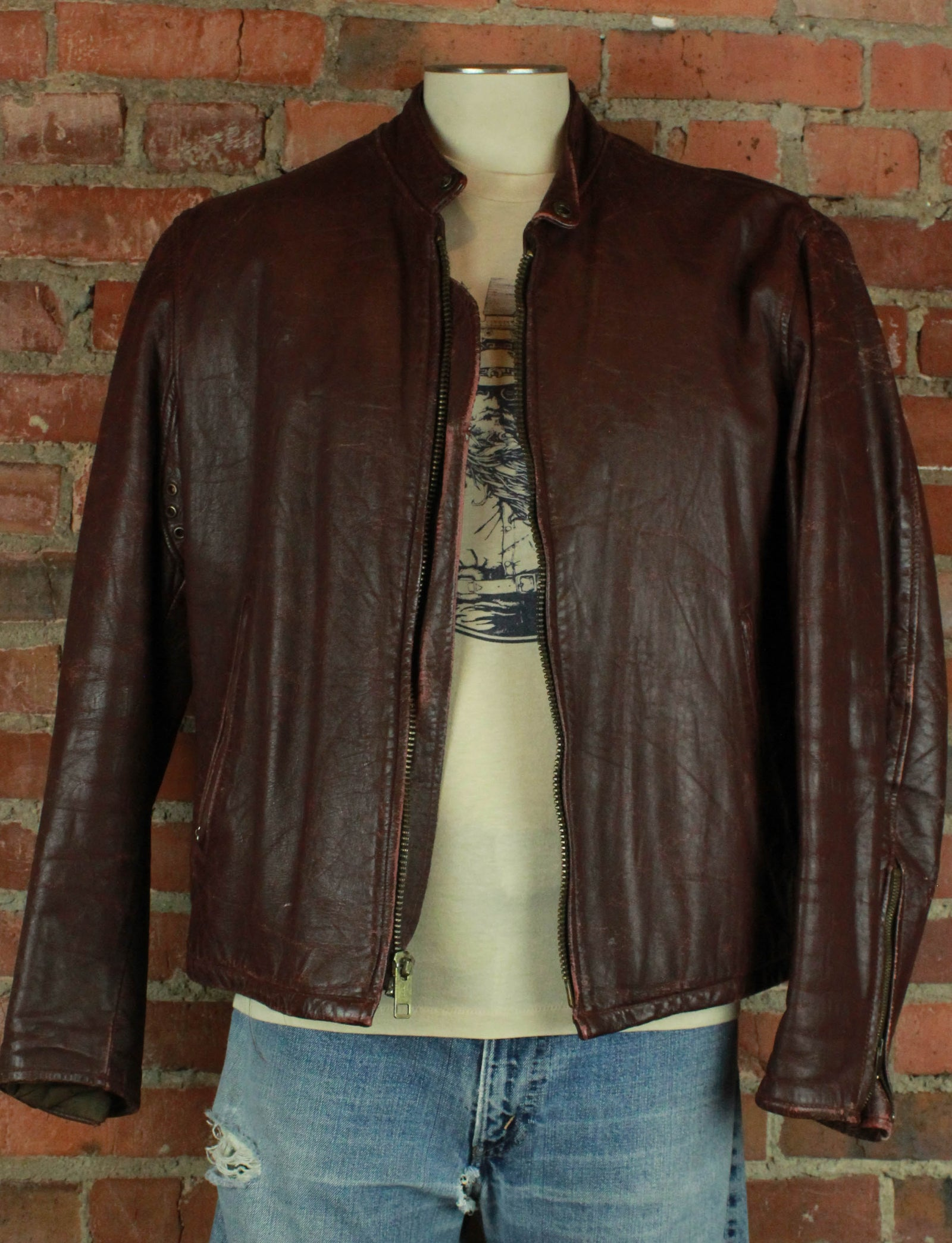 Men's Vintage 70's Dark Brown Cafe Racer Leather Jacket - Medium