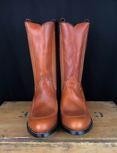 Men's Vintage Deadstock Georgia Boot Brown Leather Cowboy Boots - 9