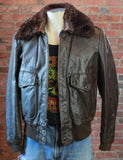 Men's Vintage Excelled Brown Leather Bomber Jacket With Faux Fur Collar Size 40 Medium