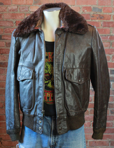 Men's Vintage Distressed Brown Leather Jacket Size Extra Large
