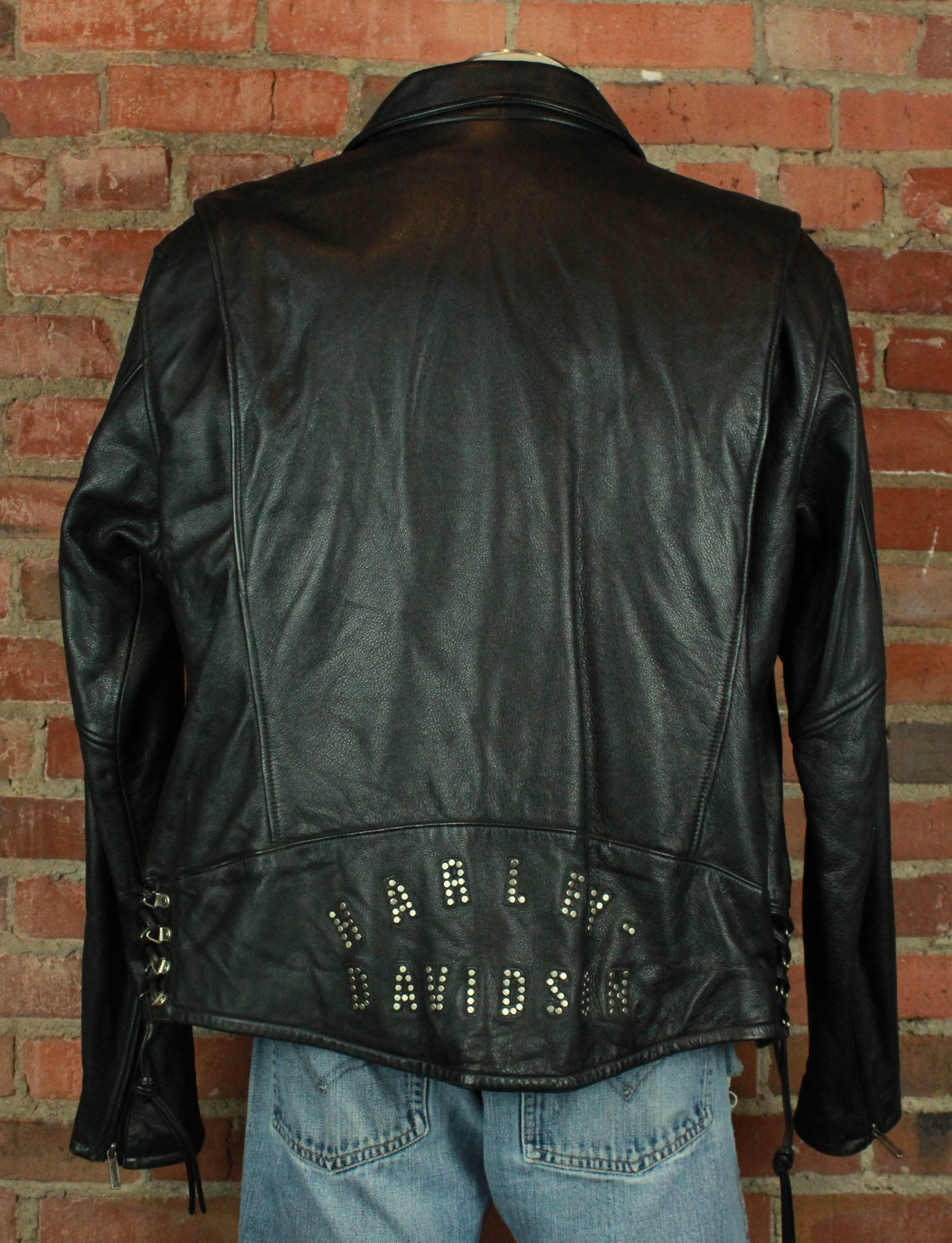 Men's Vintage Harley Davidson Black Leather Biker Jacket - XL