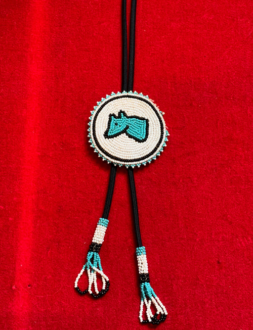 Vintage Native American Beaded Wolf Bolo Tie