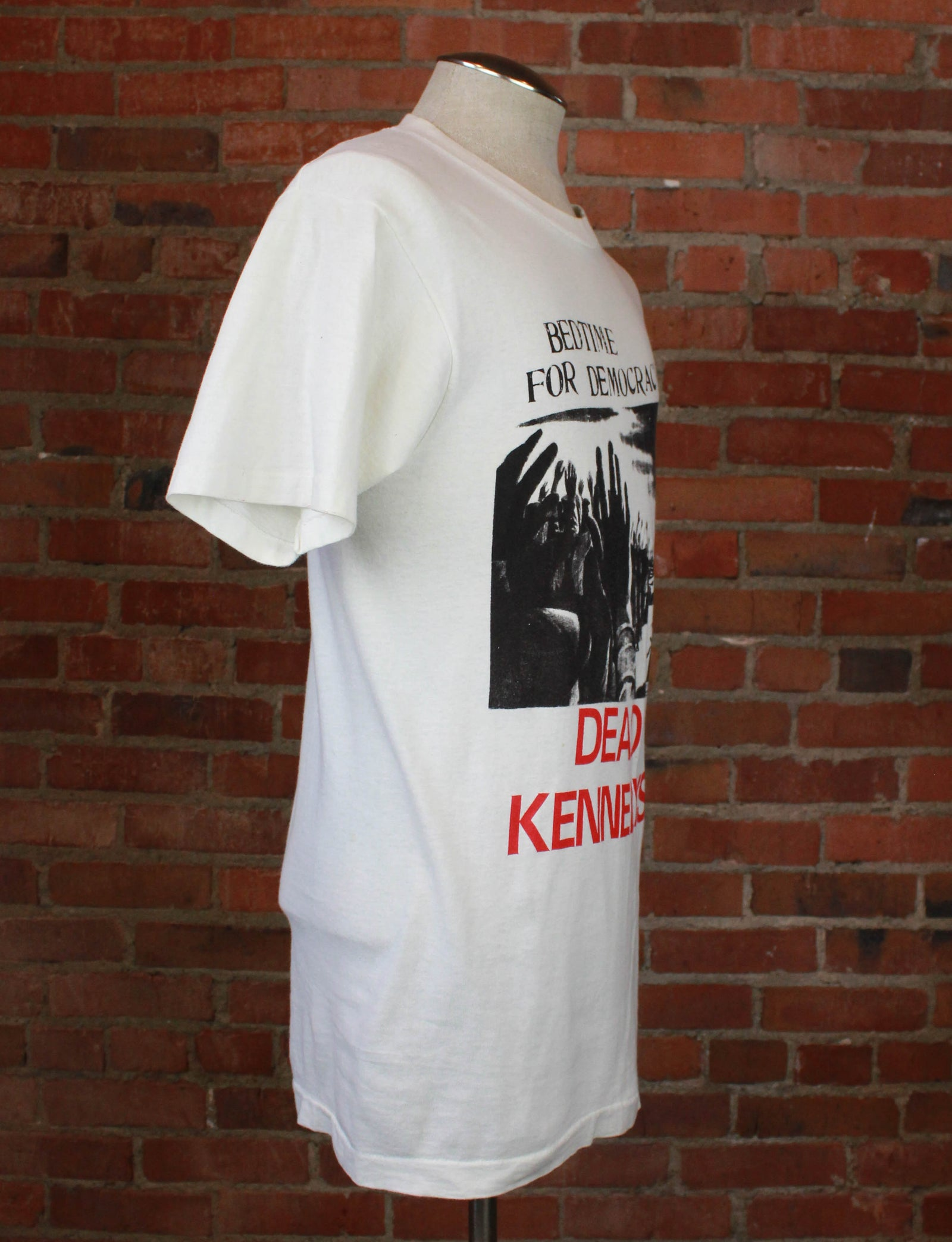 Vintage 1986 Dead Kennedys Concert T Shirt Bedtime For Democracy White Unisex Large