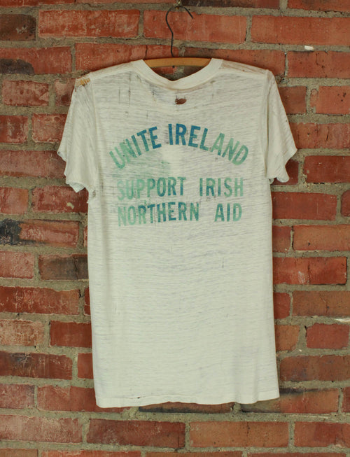 Vintage 80's IRA All The Way Unite Ireland Thrashed Graphic T Shirt - Medium