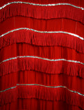 Vintage Wanda Jackson Red Fringe Western Dress 1960s Small